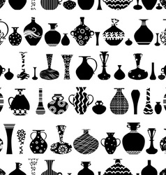 Seamless texture with row of variety ethnic vases vector
