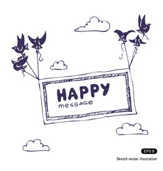 Banner with the birds in the sky vector