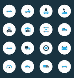 Auto colorful icons set collection of vehicle vector