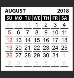 Calendar sheet august 2018 vector