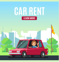 car rental poster concept cartoon-style vector image vector image