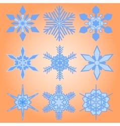 Christmas set of nine snowflakes vector image vector image