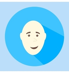 Color bald smiling flat icon man face vector