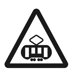 Crossing with a tram sign line icon vector