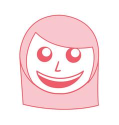 Cute pink women face cartoon vector