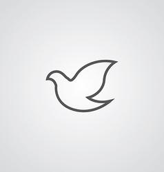Dove outline symbol dark on white background logo vector