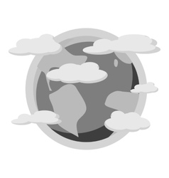 Earth planet in the clouds icon vector