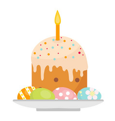 Easter cake with candles on a plate with eggs icon vector