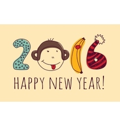 Face monkey happy new year greeting card vector