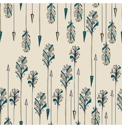 Feather arrow seamless pattern vector