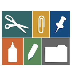 Flat office supply icon set vector image vector image