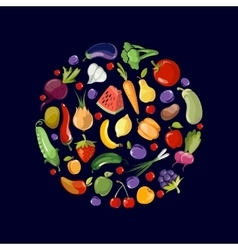 Fruits and vegetables organic food icons in circle vector image vector image