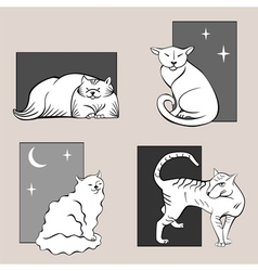 Funny cats sketches set one vector image