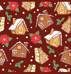 Gingerbread houses and poinsettia flowers vector