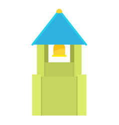 Green bell tower with blue bell roof icon vector