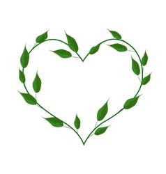 Green leaves forming in a heart shape vector