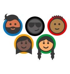 Group of multi-ethnic people emoji icons vector