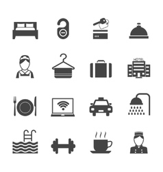 Hotel icons black vector