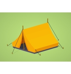 Low poly orange camping tent vector image