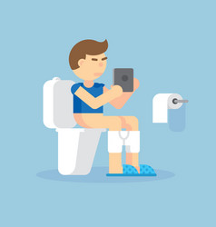 man sitting on toilet with an electronic tablet vector image vector image