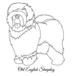 Old english sheepdog outline vector