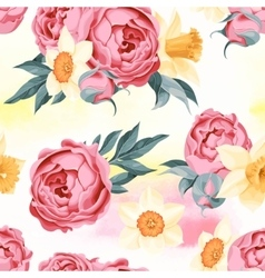 Peony and daffodil seamless vector image