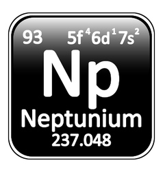 Periodic table element neptunium icon vector