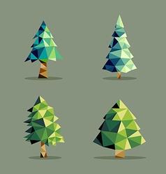 Polygonal abstract pine tree set vector