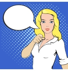 Pop Art of girl with a speech bubble vector image
