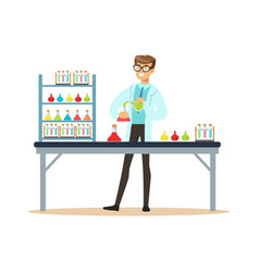 Scientist in modern laboratory conducting vector