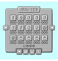 Stone game menu level interface ui panels vector