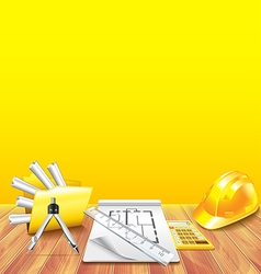 Wooden table and engineer tools vector