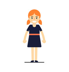 Young redhead girl in blue dress vector