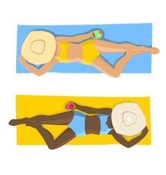 Women on beach Top view vector image