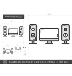 Home cinema line icon vector