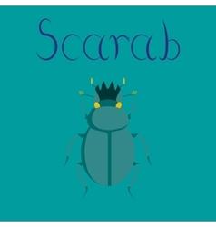 Flat on background bug scarab vector