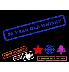40 year old whisky rubber stamp vector