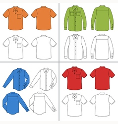 Long short sleeved mans buttoned shirt outline vector