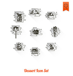 Dessert icon set in modern flat design style vector