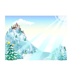 Winter castle background vector
