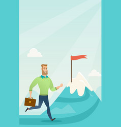 Businessman running to his business goal vector