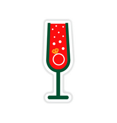 Paper sticker on white background glass champagne vector
