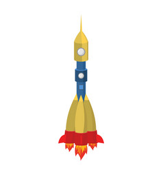 Rocket cartoon style isolated spaceship on white vector