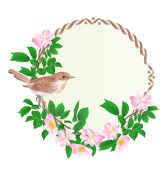 Floral round frame with wild roses and bird vector