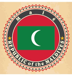 Vintage label cards of maldives flag vector