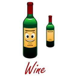 Cartoon wine bottle vector image
