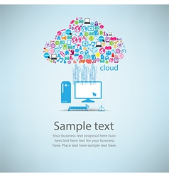 Template design computer idea with social network vector image
