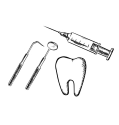 Icons of tooth syringe mirror and probe vector