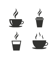 Coffee cup icon hot drinks glasses symbols vector