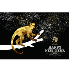 Happy china new year monkey gold low poly ape tree vector